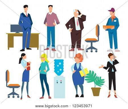 Office people isolated on white background, vector illustration. The chief, secretary, messenger, accountant and other employees. People characters. People set. Young people. Vector people. Diverse group of people. People isolated. People smile. Group of