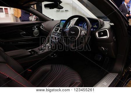 GENEVA, SWITZERLAND - MARCH 1: Geneva Motor Show on March 1, 2016 in Geneva, Aston Martin DB11, interior view