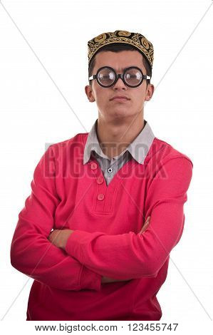 Portrait of a smart geek with funny glasses