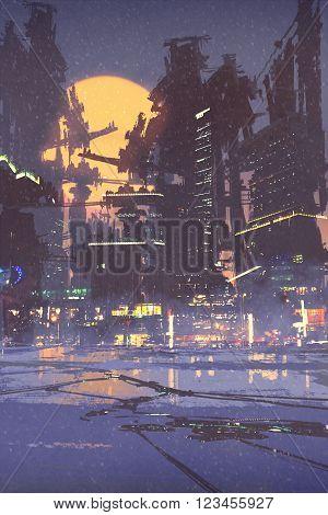 illustration digital  painting of sci-fi city, cityscape