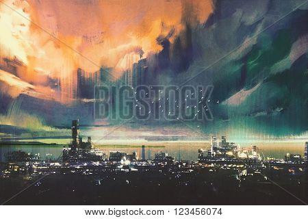 landscape digital painting of sci-fi city, sceney, cityscape