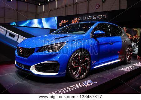 GENEVA, SWITZERLAND - MARCH 1: Geneva Motor Show on March 1, 2016 in Geneva, Peugeot 308R, side-front view