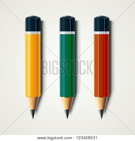 Realistic detailed sharpened pencils isolated on white background. Vector illustration EPS10