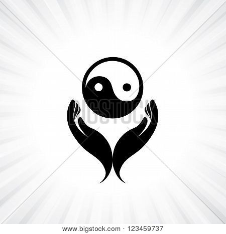 Person Praying With Yin Yang Symbol In Hand - Concept Of A Devout Buddhist Worshiping