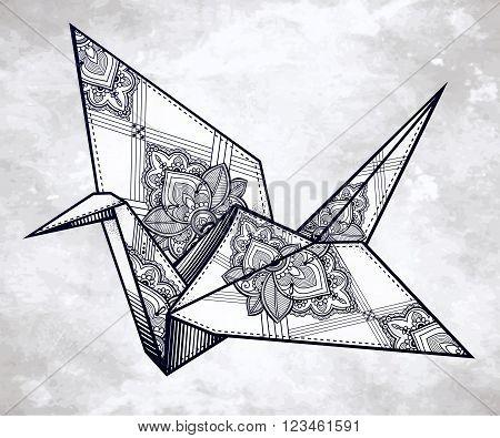 Origami  ornate crane bird. Paper crane stylized triangle polygonal model with paisley details . Hand drawn isolated vector illustration. Invitation element. Tattoo, oriental, boho, hope symbol.