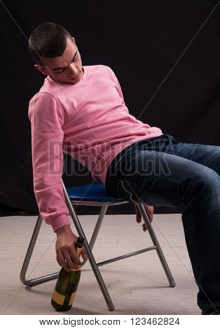 Young Man Who Drank Wine, Fell Asleep In The Chair