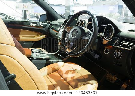 Nonthaburi - March 23: Interior Design Of New Meredes Benz Gls 350 D Amg Premium On Display At The 3
