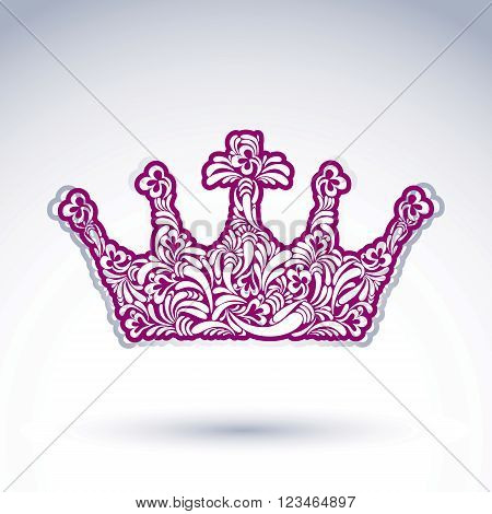 Flower-patterned Imperial Crown Isolated On White Background. Floral Decorated Majestic Coronet, Imp
