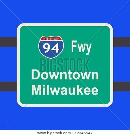 freeway to downtown Milwaukee sign illustration JPG
