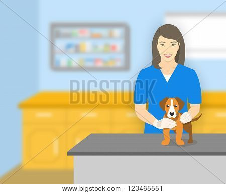Young smiling woman veterinarian holding a dog at a table in veterinary office. Vector flat illustration. Pets health care horizontal banner. Veterinary cartoon concept