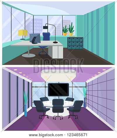 Office interior in flat style. Office room, boardroom. Meeting room with a conference table. Armchair and table, computer and monitor, view from the window on megapolis, skyscrapers. Business concept