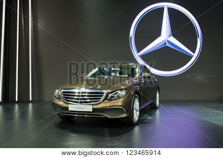 NONTHABURI - MARCH 23: NEW Mercedes Benz e 220 d on display at The 37th Bangkok International Motor show on MARCH 23, 2016 in Nonthaburi, Thailand.