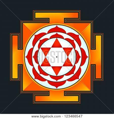 Colored Bhuvaneshwari Yantra Illustration.