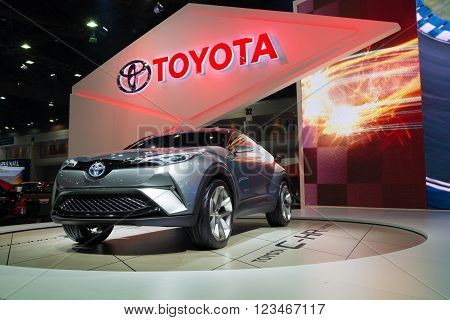 NONTHABURI - MARCH 23: NEW Toyota CH-R Concept on display at The 37th Bangkok International Motor show on MARCH 23, 2016 in Nonthaburi, Thailand.