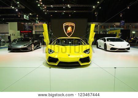 NONTHABURI - MARCH 23: Lamborghini Aventador on display at The 37th Bangkok International Motor show on MARCH 23, 2016 in Nonthaburi, Thailand.