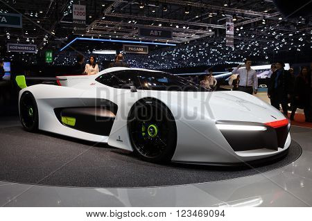 GENEVA, SWITZERLAND - MARCH 1: Geneva Motor Show on March 1, 2016 in Geneva, Pininfarina H2 Speed concept, front-side view