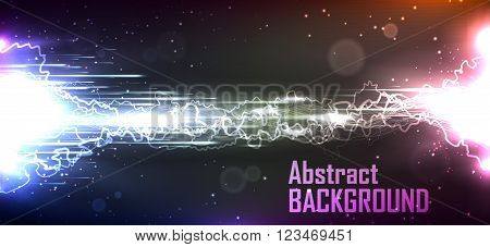 Cosmic background. The energy flow with lightning. Abstract background for business presentations. Vector.