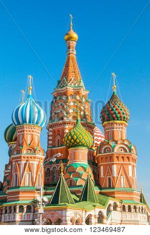 Roofs and cupolas of St Basil Cathedral (Intersession cathedral, Pokrovsky Cathedral) in Moscow, Russian Federation