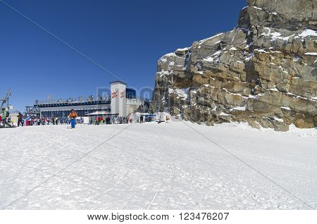 HINTERTUX GLACIER, AUSTRIA - MARCH 17, 2016: The top station of the cable car leading to the top of the Hintertux glacier in the Austrian Alps. Height - 3250 meters above sea level.