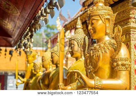 Deatail from Wat Phra That Doi Suthep in Chiang Mai. This Buddhist temple founded in 1383 is the most famous in Chiang Mai.