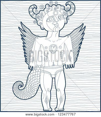 Vector hand drawn graphic illustration of weird creature cartoon nude male with wings animal side of human being. Idol concept spirit art allegory drawing.