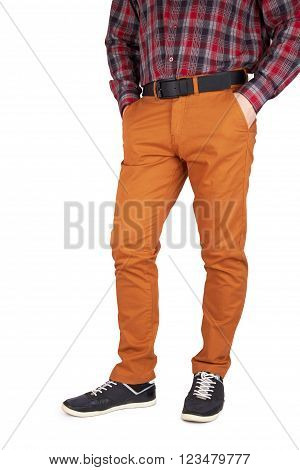 man in trousers and shirt isolated on white background