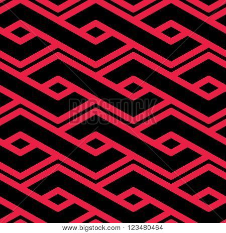 Colorful geometric seamless pattern symmetric endless vector background with intertwine lines. Abstract concept red splicing covering.