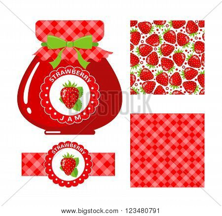 Strawberry jam collection. Set of paper labels and seamless patterns Gingham Strawberry on white background. Design for package, wrapping paper, textile. Vector illustration
