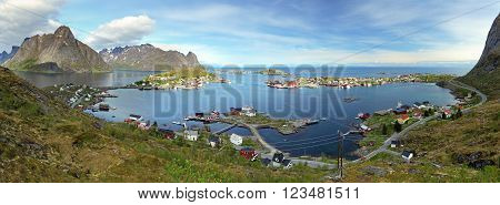 Panorama of village in Norway at a day