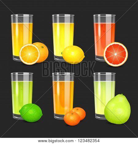 Set of fresh citrus juices. Realistic transparent glasses with squeezed citrus juices. Citrus fruits (orange lemon lime grapefruit pomelo mandarin). Vector illustration on black background