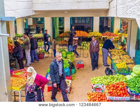 BETHLEHEM PALESTINE - FEBRUARY 18 2016: The Bethlehem market is the central vegetable market of the city on February 18 in Bethlehem.
