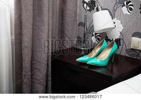 Wedding Blue Patent Leather High-heeled Shoes.