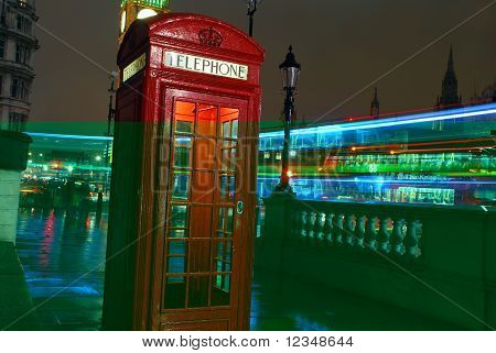 Typical red Telephone box in London, England