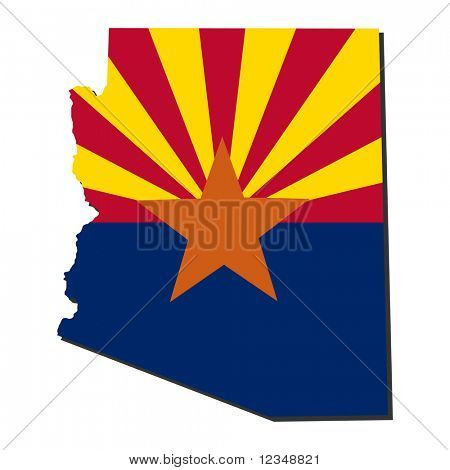 Map and flag of the State of Arizona