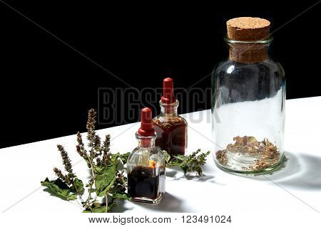 Three Glass Bottles With Herbal Extracts And Patchouli Branch