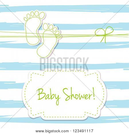Blue vector card invitation for baby shower, arrival or birthday card with  stripes and baby foot steps. Cute background in blue colors