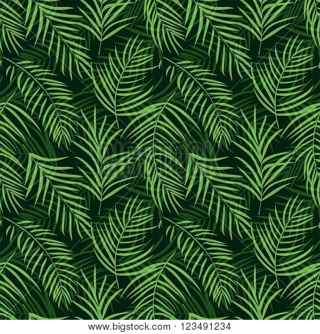 Tropical palm leaf seamless pattern colored 10eps. Vector illustration