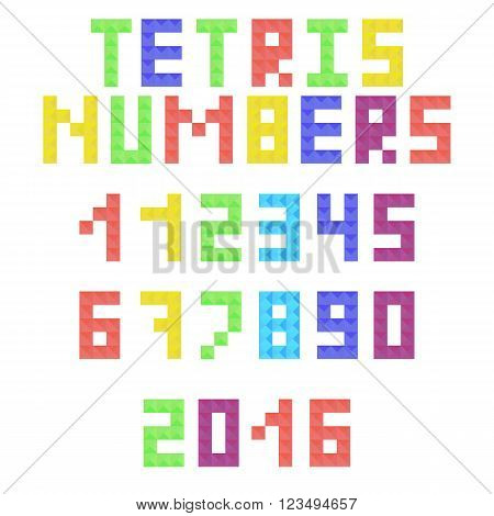Tetris arabic numerals from colored pieces. Colorful tetrimino numbers and symbols in flat style. Vector illustration