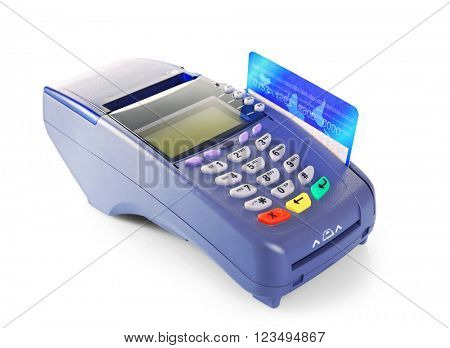 Bank terminal with credit card, isolated on white poster