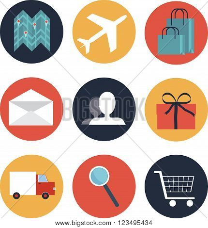 Set of 9 round e-commerce icons with most popular online use