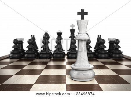 3D Illustration Of winning concept White king stands on a chessboard foreground with black chess in the background isolated on white