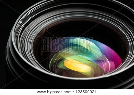 Professional modern DSLR camera llense ow key image - Modern DSLR camera lense with a very wide aperture