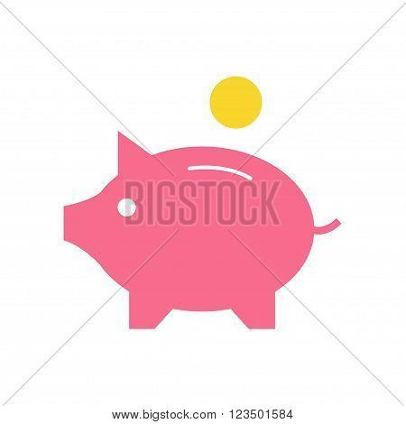 Money box isolated icon on white background. Piggy box. Finance icon. Bank icon. Flat style vector illustration.