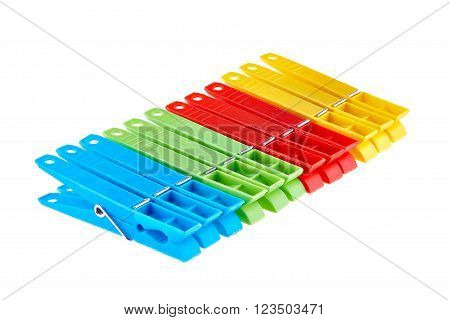 Set color clothes pegs isolated on white