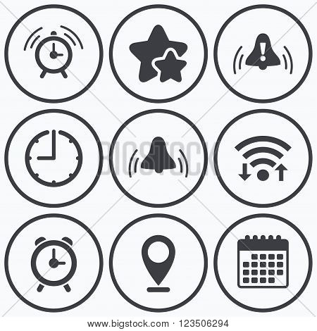 Clock, wifi and stars icons. Alarm clock icons. Wake up bell signs symbols. Exclamation mark. Calendar symbol.