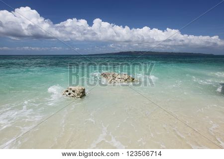 Beach and tropical sea of Philippines at sunny day