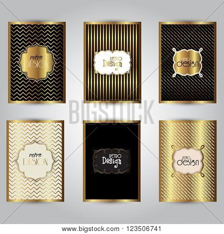 Collection of stylish gold brochure designs