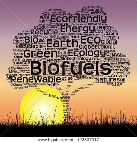 Concept or conceptual black ecology text word cloud as tree and grass on sunset sky  background