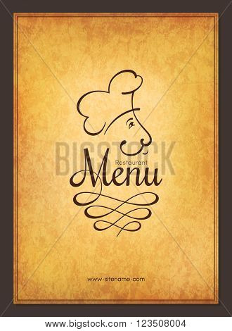 Retro restaurant menu design with funny chef