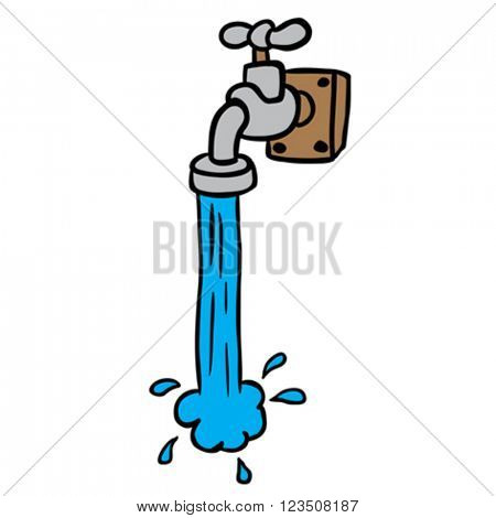freehand drawn cartoon illustration of running faucet
